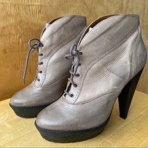 Pour la Victoire Gray Lace Up Platform Ankle Boots